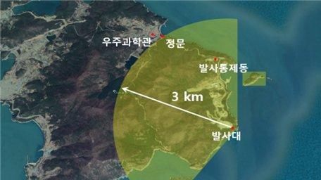 발사대 중심 반경 3km 육상통제 범위. /사진=과학기술정보통신부