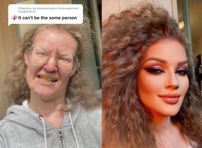 러시아의 유명 인플루언서가 틱톡에 자신의 변신 전후를 담은 영상을 공개하자 누리꾼들이 변신 전후의 인물이 다르다며 의혹을 제기했다.  /사진=틱톡 캡처