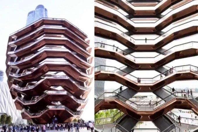 미국 뉴욕의 관광명소로 꼽히는 유명 건축물에서 10대 소년이 투신해 사망하는 사건이 발생했다. 해당 건축물에서 투신해 사망한 이들만 지금까지 4명째다. 사진은  '허드슨 야드 베슬'(Vessel at the Hudson Yards). /사진=트위터 갈무리