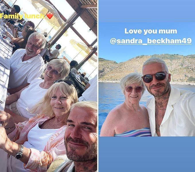전 축구선수 데이비드 베컴과 그의 어머니, 아내 빅토리아 베컴의 부모님의 모습(왼쪽), 데이비드 베컴과 그의 어머니가 함께 찍은 사진(오른쪽)./사진=데이비드 베컴 인스타그램