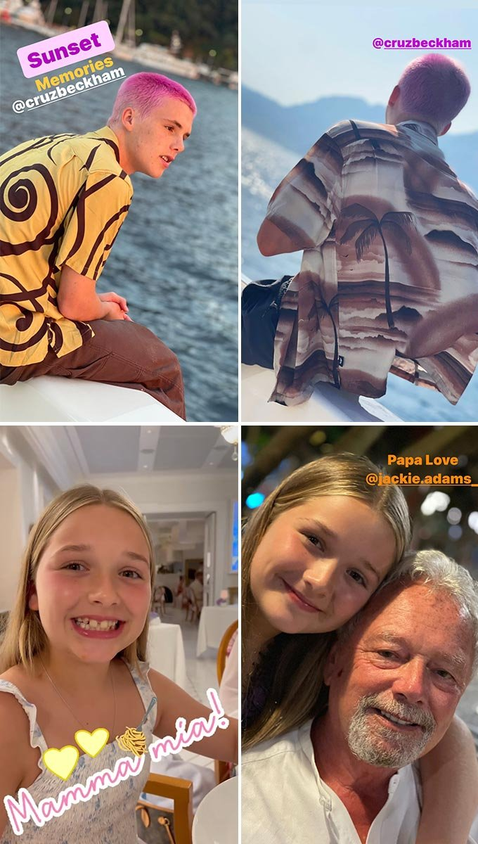 전 축구선수 데이비드 베컴의 아들 크루즈(위), 딸 하퍼(아래)와 그의 외할아버지 안소니 아담스(오른쪽 아래)./사진=데이비드 베컴 인스타그램