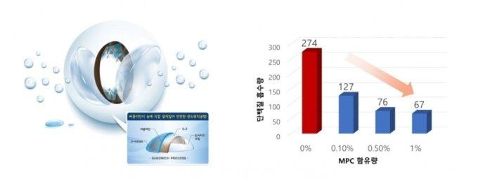 (왼쪽부터)네오비젼의 샌드위치 공법 이미지, MPC 함유량에 따른 단백질 흡수량 그래프 /사진제공=네오비젼
