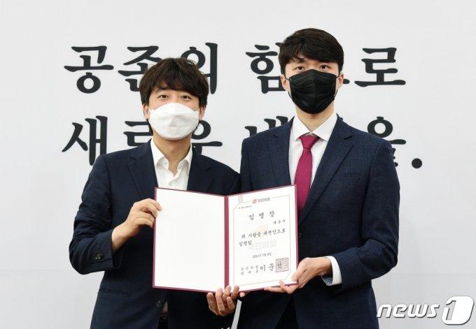 이준석 국민의힘 대표(왼쪽) 양준우 국민의힘 대변인(오른쪽) /사진제공=뉴스1