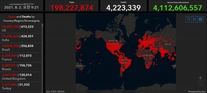 글로벌 코로나19 확진자 추이. /자료=미국 존스홉킨스대학