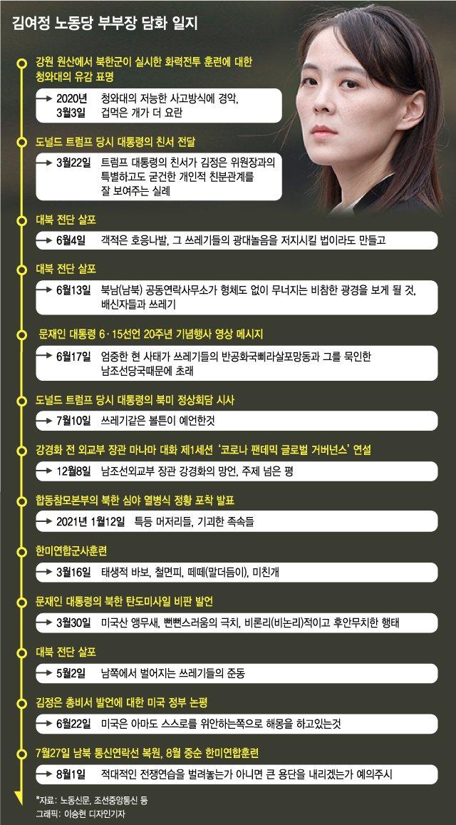 """김여정, 3월엔 """"태생적 바보"""" 8월엔 """"용단을 내리겠는가"""""""