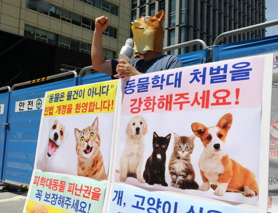 한국동물보호연합 회원이 7월 22일 오후 서울 종로구 이순신장군 동상 앞에서 동물학대 처벌 강화를 촉구하는 1인 기자회견을 하고 있다./사진=뉴시스