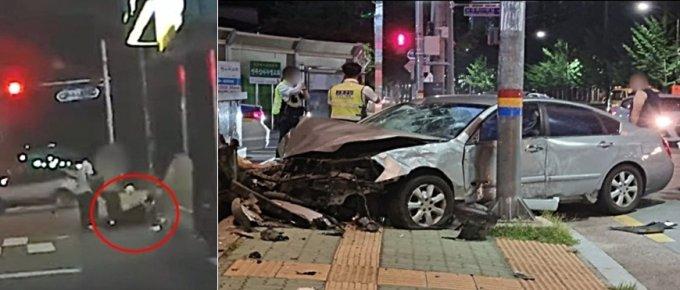 지난달 29일 오후 9시35분쯤 진주시 평거동 서부농협 앞 교차로에서 오토바이와 승용차가 충돌했다./사진=유튜브 채널 '한문철TV'(왼쪽), 뉴스1(독자제공)