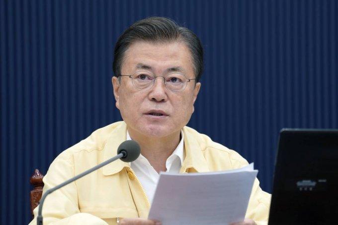 [서울=뉴시스] 문재인 대통령이 3일 청와대에서 열린 제34회 국무회의(영상)에서 발언하고 있다. (사진=청와대 제공) 2021.08.03. photo@newsis.com *재판매 및 DB 금지