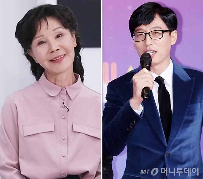 배우 이용녀, 방송인 유재석/사진=TV조선 제공, 머니투데이 DB