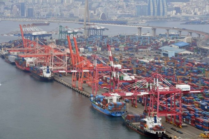 부산 남구 감만부두에서 컨테이너 하역작업이 진행되고 있다. 2021.07.01. yulnetphoto@newsis.com