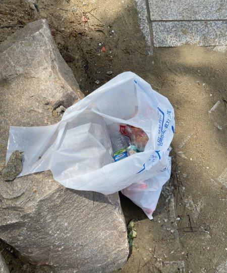 50리터짜리 쓰레기 봉투를 놔뒀더니, 사람들이 함부로 투기하지 않고, 이 안에 버렸다./사진=뭔가 뿌듯한 남형도 기자
