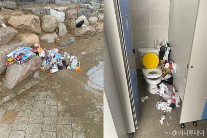 서해 방아머리해수욕장 세면대 인근에 마구 버려진 쓰레기(왼쪽)와 화장실 변기 옆을 뒤덮은 쓰레기./사진=우리나라라 믿고 싶지 않은 남형도 기자