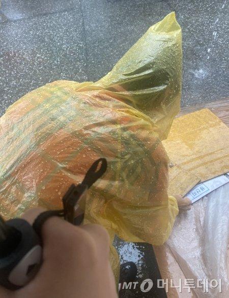 시장에서 물건을 팔던 할머니. 비가 와서, 하나도 팔지 못하고 빗물에 젖은채 하나씩 치우고 있었다./사진=남형도 기자