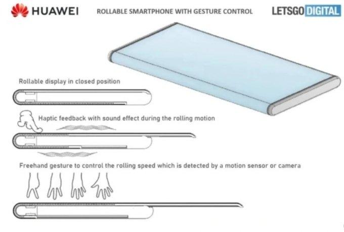IT전문매체 렛츠고디지털이 공개한 화웨이의 롤러블폰 특허 내용.