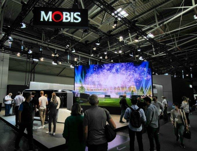 이달 초 독일 뮌헨에서 열린 IAA모빌리티 현대모비스 전시관 전경/사진제공=현대모비스