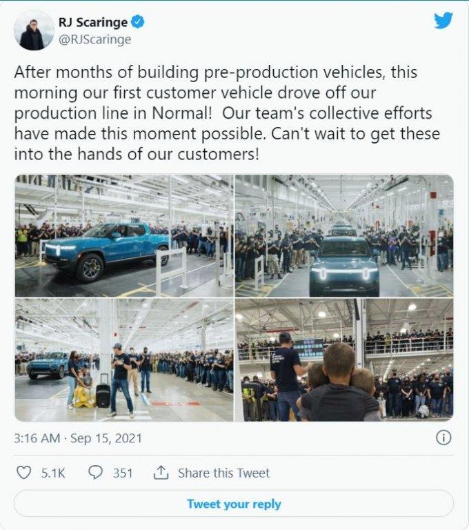 RJ 스커린지 리비안 창업자는 트위터를 통해 자사 전기 픽업트럭인 'R1T' 첫 출고 소식을 알렸다. /트위터 캡처