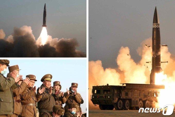 (평양 노동신문=뉴스1) = 북한은 전날인 25일 발사한 단거리 탄도 미사일 추정 발사체에 대해 26일 '신형전술유도탄'이라고 밝혔다. 노동당 기관지 노동신문은 이날 2면에 발사체의 사진을 공개했다