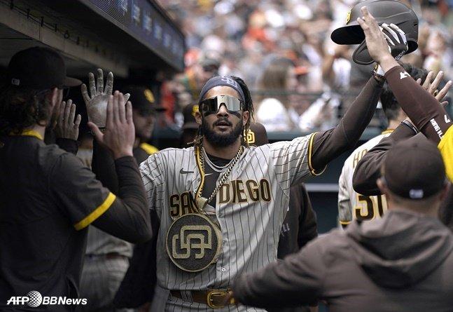 시즌 39호 홈런을 터뜨린 샌디에이고 페르난도 타티스 주니어. /AFPBBNews=뉴스1