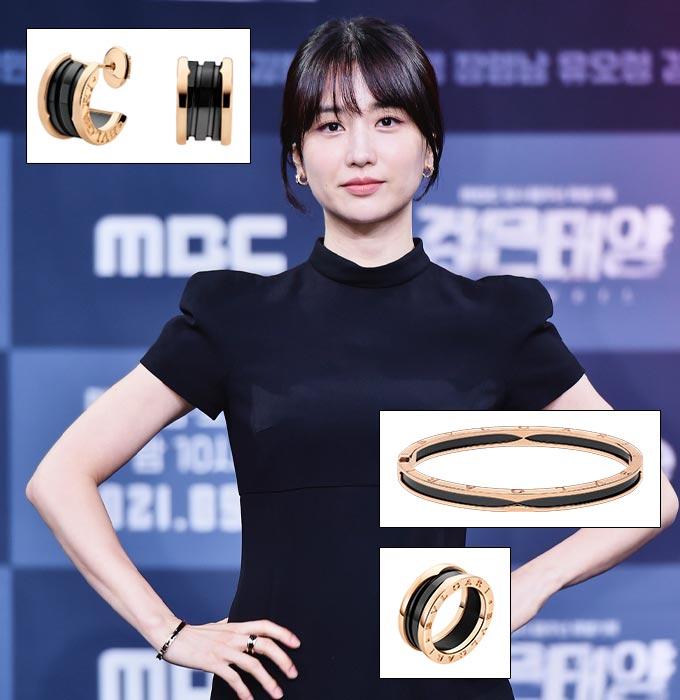 드라마 '검은태양' 제작발표회에 참석한 배우 박하선./사진제공=MBC, 불가리(Bulgari)