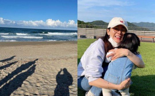 '9살 연하♥' 최지우, 남편X딸과 바닷가엔 무슨일?