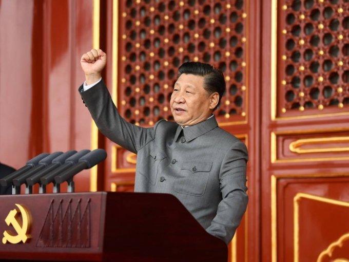 [베이징=신화/뉴시스]시진핑 중국 국가주석이 1일 베이징에서 열린 중국 공산당 창당 100주년 기념식에 참석해 연설하고 있다.