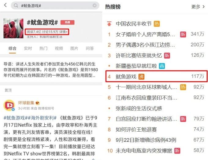 중국 소셜미디어 웨이보에서 23일 오후 2시 기준 '오징어 게임' 해시태그의 누적 조회수는 7억4000만으로 집계됐다./사진=웨이보 캡처