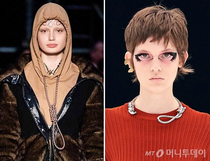 2019년 논란이 됐던 버버리의 올가미 후드, 2022년 지방시가 최신 패션쇼에서 선보인 올가미 목걸이 /사진=버버리 2019 F/W , 지방시 2022 S/S 컬렉션