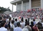 국회 본청 앞에 모인 자유한국당
