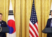 """文·바이든, 공동성명 발표 """"판문점 선언 기초, 한반도 완전비핵화"""""""