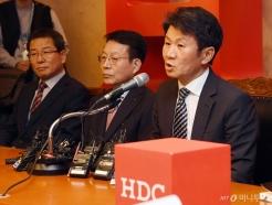 [사진]입장 밝히는 정몽규 HDC 회장