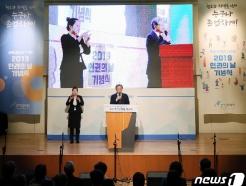 [사진] 인권의 날 기념식 축사하는 유남석 헌재소장