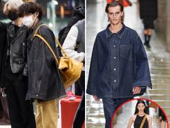 """방탄 뷔, 오버사이즈 공항 패션…""""런웨이 모델이 입었네"""""""