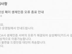 연휴 첫날 삼성페이 2시간 결제 오류로 불편