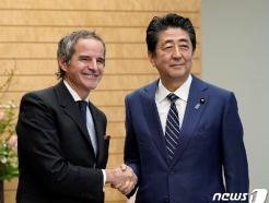 """일본 간 IAEA총장 """"원전 오염수 '해양방출'이 일반적"""""""