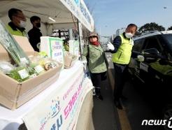 [사진] '농산물도 드라이브-스루로 구입하세요'