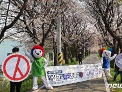 [사진] 벚꽃길에서 투표 참여 캠페인 펼치는 선관위