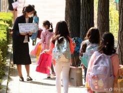 첫 등교하는 초등학생들