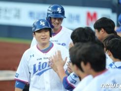 [사진] 삼성 이원석 '투런홈런' 축하