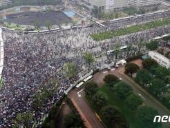 [사진] 광화문 광장 가득메운 보수단체 광복절 집회