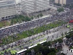 [사진] 보수단체 집회, '수도권 사회적거리두기 2단계인데'