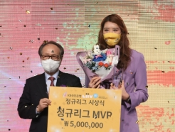 [사진] KB 박지수 'MVP 받았어요'
