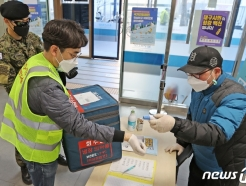 [사진] 코로나19 백신 이송 담당자도 발열검사 철저히