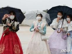 [사진] 봄비 내리는 고궁 찾은 학생들