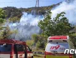 [사진] 여수 봉계동 야산 화재 진화 중