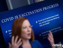 [사진] 코로나 백신 접종 브리핑하는 사키 백악관 대변인
