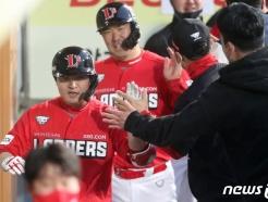 [사진] SSG 김성현 '역전 3점 홈런'