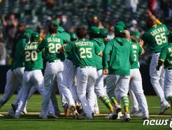 오클랜드, 대역전극으로 일궈낸 11연승…MLB 최초 기록도 작성