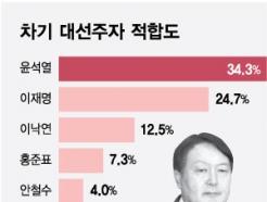 """""""차기 대통령감은 누구?""""...윤석열 34.3%, 이재명 24.7%"""