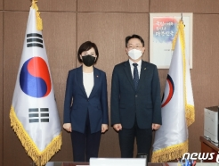 [사진] 기념촬영하는 전현희 국민권익위원장과 김현준 LH 사장
