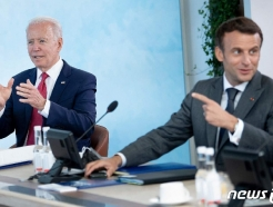 [사진] 마크롱과 G7 정상회의 실무회의서 발언하는 바이든